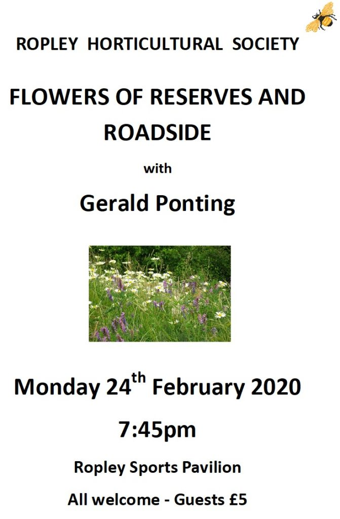 "RHS – Illustrated talk ""Flowers of Reserves and Roadside"" with Gerald Ponting @ Sports Pavilion"