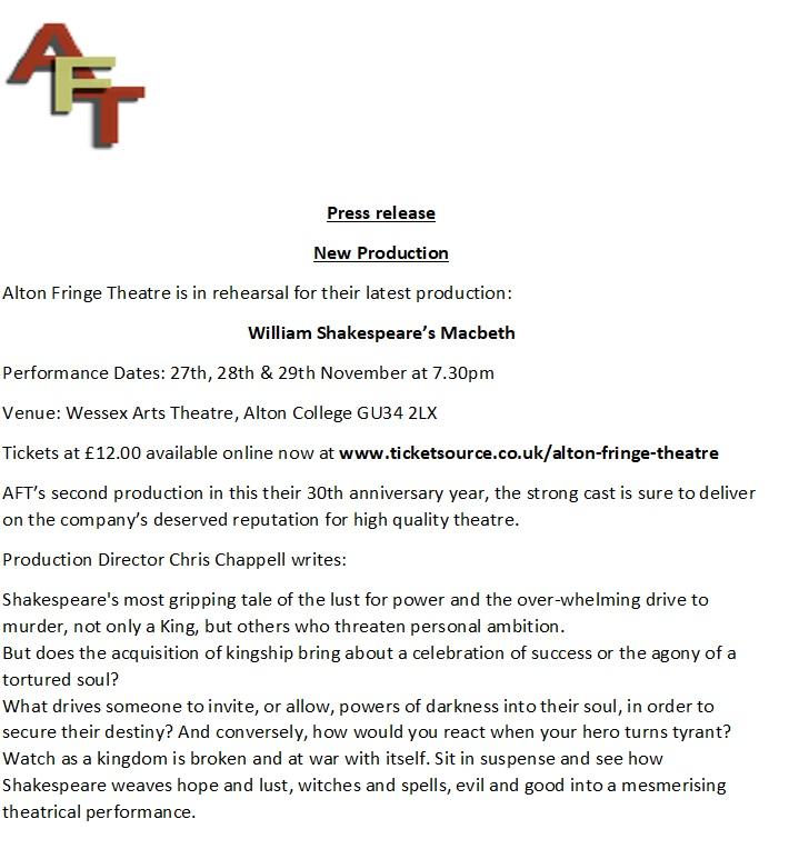 Alton Fringe Theatre - William Shakespeare's Macbeth @ Wessex Arts Theatre, Alton College