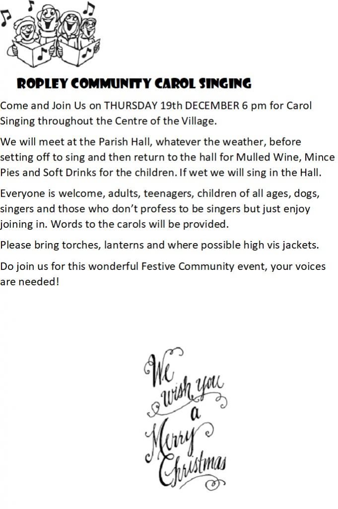 ROPLEY COMMUNITY CAROL SINGING @ Parish Hall - start point
