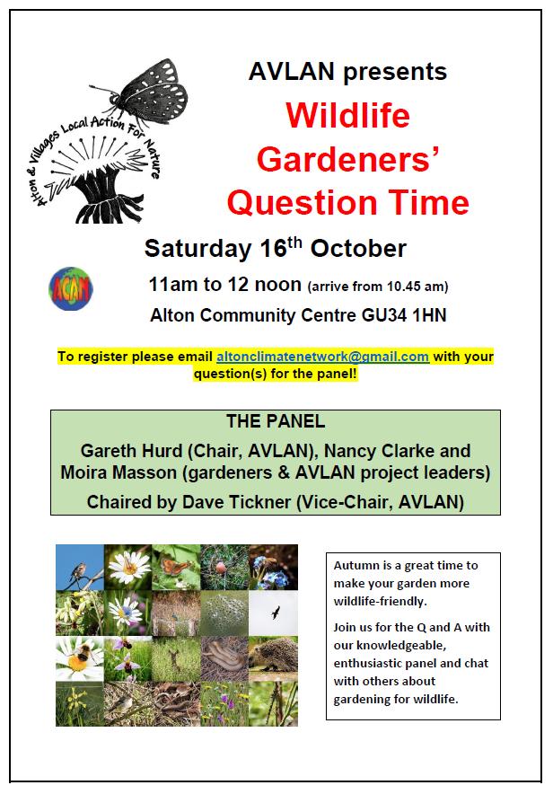 Wildlife Gardeners' Question Time @ Alton Community Centre